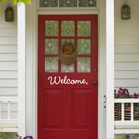 Welcome. Cute Welcoming Decorative Front Door Vinyl Decal Sticker Art