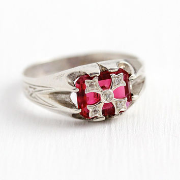 Art Deco Ring - Vintage Men's Sterling Silver Simulated Ruby & Genuine Diamond Ring - 1920's Size 11 1/4 Red Pink Glass Stone Crest Jewelry
