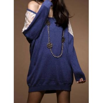 Stylish Scoop Neck Lace Splicing Dolman Sleeve T-Shirt For Women