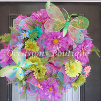 XL Summer Wreath, Summer Decoration, Door Hanger, Deco Mesh Wreath, Whimsical Wreath, Ready to Ship