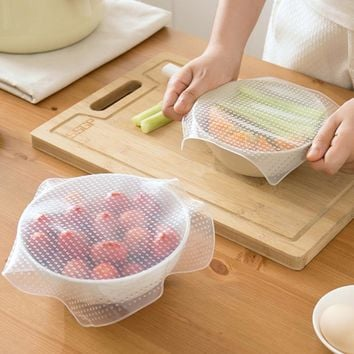 Multifunctional Food Fresh Keeping Wrap Kitchen Tools Reusable Silicone Food Wraps Seal Vacuum Cover Lid Stretch