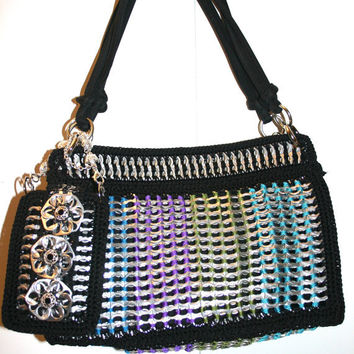 Leah - Shoulder Crochet Purse Made from Pop Tabs - Satchel  Black Blue Purple Teal Green  Vegan