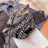 Dior retro simple full printed letters female single-sided chest bag