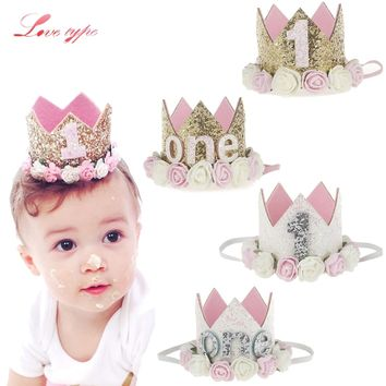 1PC Baby Birthday Party Hats Princess Queen Crown Hat I Am One Caps Baby Shower Birthday Party Photo Props Children Party Decor