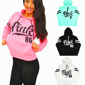 """Pink"" Victoria's Secret Casual Letter Print Hoodie Pullover Top Sweater Sweatshirt"