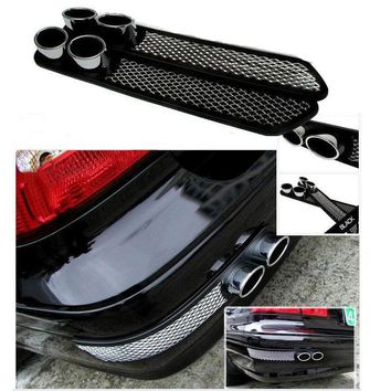 BBQ@FUKA Chrome Exhaust Tail Pipes Rear Bumper Fender Exterior Decorative Simulation Racing Style Fit for Benz C350 FF