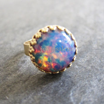 Fire Opal Ring Pink Opal Lilac Blue Gold Ring Ombre Statement Ring Harlequin Opal Ring Friendship Ring Preppy Geekery Exotic Bohemian Ring