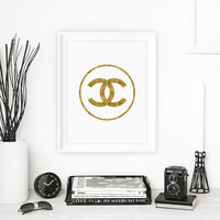 Chanel Logo Typography Print Gift for Fashionista Wall Decor Bedroom Home Decor Faux Gold Winter Gift New Year Resolution
