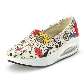 Pattern Canvas Graffiti Platform Printing Slip On Rocker Sole Shoes