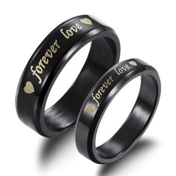 Women Men Forever Love Engagement Ring Engraved Band Couple black Color