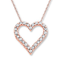 Diamond Heart Necklace 1/8 ct tw Round-cut 10K Rose Gold