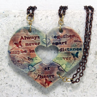 Friendship Necklaces Set of 3 Watercolored pottery pendants Always Together quote Puzzle necklaces