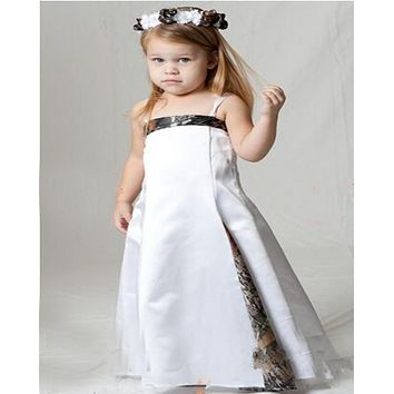 4256816e7ae9f 2016 New Styles Strap Cute Camo Flower Girl Dresses Pageant Ball