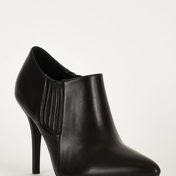 Stretch Panel Pointed Toe Synthetic Leather Ankle Boots