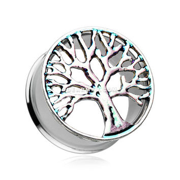 A Pair of Mystic Tree of Life Iridescent Ear Gauge Tunnel Plug