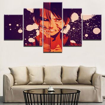Cool Attack on Titan Modular Wall Art Pictures Modern Home Decor Living Room 5 Pieces Anime  Role Painting HD Print Canvas Poster AT_90_11