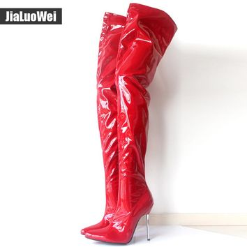 Woman's Spring/Autumn Thigh High Boots Sexy Boots High Heel Patent Leather Zipper Over Knee Pointed Toe Boots Customize Design