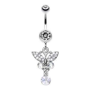Sparkling Butterfly Gem Belly Button Ring