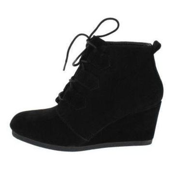 Women's Classic Black Lace Up Ankle Booties Platform Wedges