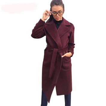 V-Neck Long Wool Winter Cape Wrap Coat Outerwear