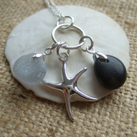 Scottish beach pebble and grey sea glass pendant with sterling silver starfish and charm holders on 26'' wave chain, pebble pendant black