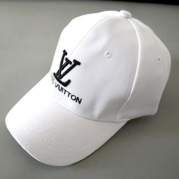 LV street fashion embroidery letters for men and women outdoor sports baseball cap White