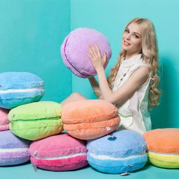 Round Soft Plush Filled Pillow Soft Cushion 15'' Macaron Shape Gift Home Decor