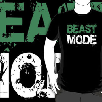Black White and Green 'Beast Mode' Workout T-Shirt