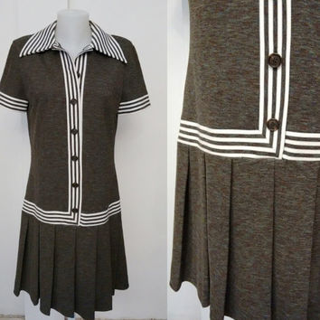 BUTTE KNIT 1970'S vintage pleated Dress White and gray stripes stripes Dresses  Free Shipping