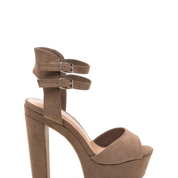 Strapped In Chunky Faux Suede Heels