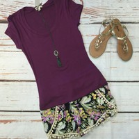 Basic Scoop Tee: Plum