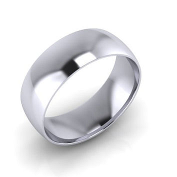 Wedding Band, Solid Gold Wedding Band, 7.50mm 14K White Gold Wedding Band, Hand Made Wedding Band, Free Engraving, Promise Ring, 7.50mm