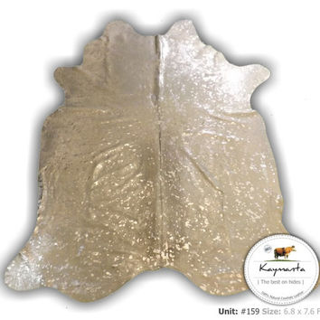 Discounted! Luxury Cowhide Rug - Devore Metallic Silver on White, Hair on Natural Cow Leather Rug