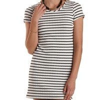 Ivory Combo Textured Striped Shift Dress by Charlotte Russe