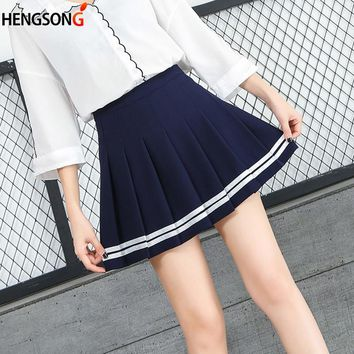 Fashion Mini Pleated Dance Skirt Students Baseball Skirt Uniforms Stripe Tennis Skirt High Waist Sport Skirt Falda Tenis
