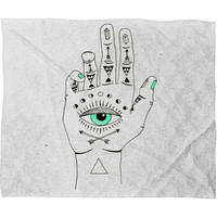 Wesley Bird Eye See Hamsa Fleece Throw Blanket