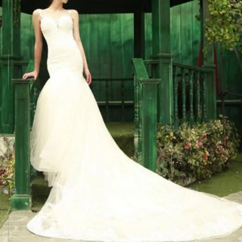 Mermaid Wedding Dresses Luxury O-neck Appliques Sleeveless Beading Backless Floor-Length Bridal Gowns
