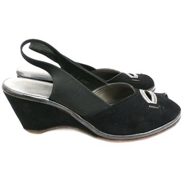 Vintage 1940s Shoes Wedge Slingback Black Suede Peep Toe Womens 6.5