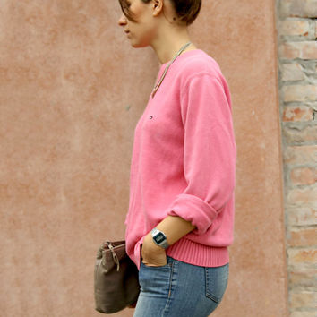 Vintage TOMMY HILFIGER pink sweater loose fit women size M / L
