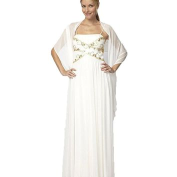 Alex Evenings - 132416 Gilt-Embellished Straight Across Ruched Gown