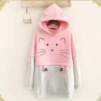 Mori Girl Cartoon Cat Paw Prints Hooded Sweatshirts Long Sleeve Pullover
