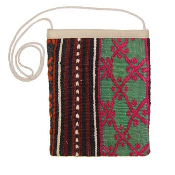 Brittney Pink/Brown Striped Pattern Kilim Bag