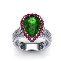 Diamond Engagement Ring With Pink Sapphire Halo 14K White Gold with 10x8mm Pear Shape Green Emerald Center - V1089