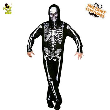 New Skeleton Skull Costume for Adult Men Role Play Halloween Scary  Skeleton Jumpsuit Cosplay Horror Devil Masquerade Party