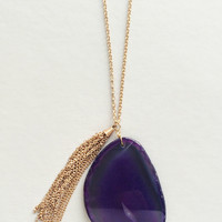 Purple Agate Pendant Necklace
