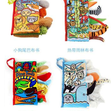 Jollybaby cartoon infant baby learning education toddlers toys animal soft cloth books for children early development 40% off