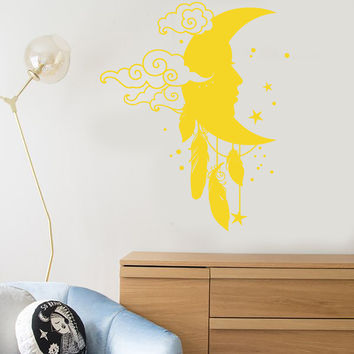 Vinyl Wall Decal Moon Star Dreamcatcher Feathers Nursery Decor Stickers Unique Gift (1367ig)