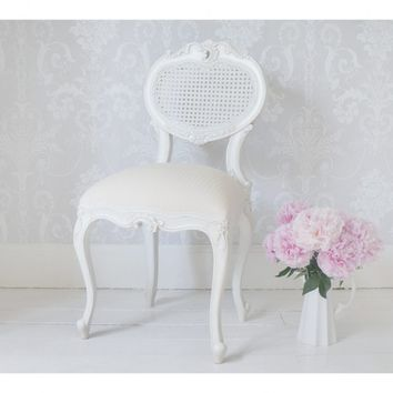 Provencal Heart Chair | White Rattan Seat