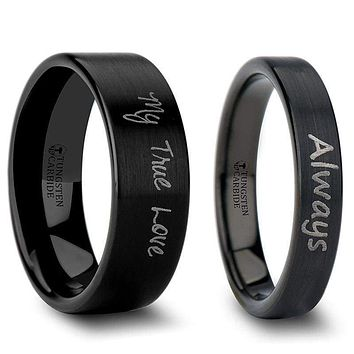 Black Tungsten Wedding Band Set With Custom Handwriting Engraved and Brushed Finish - 4mm - 12mm