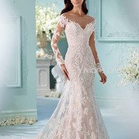 Beaded Sequin Mermaid Wedding Dress Long Sleeve Lace Tulle
